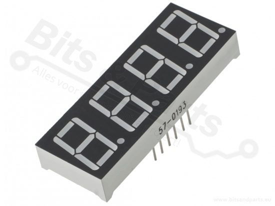 Cijferdisplay LED 7-segments 1,4cm rood - 4-voudig common cathode